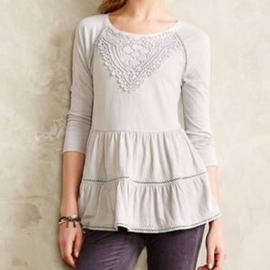 Anthropologie Meadow Rue crochet tiered shirt grey
